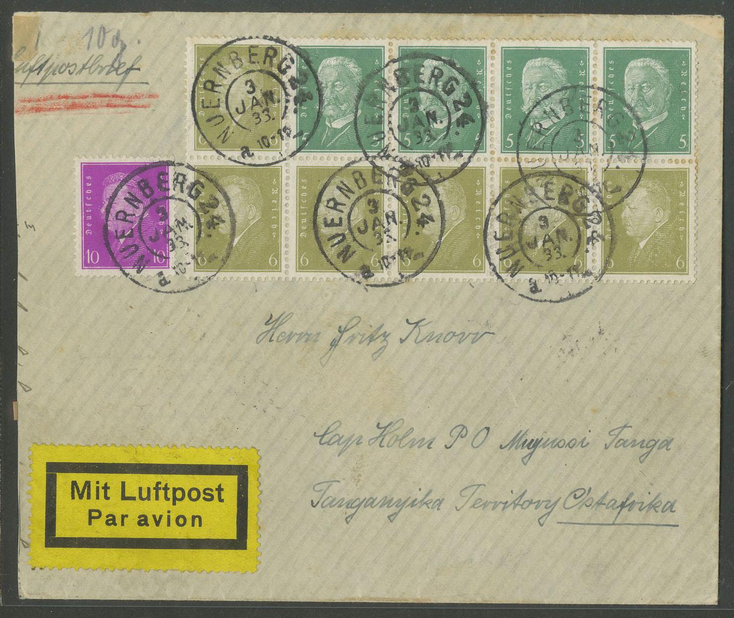 Briefe Mit Luftpost : Dt reich hbl luftpost brief nach tanganyika mi